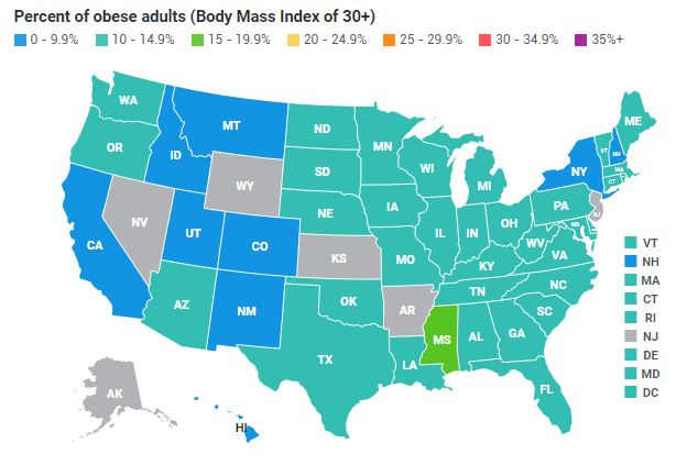 Us Map Of Obesity US Obesity Levels by State   Obesity   ProCon.org