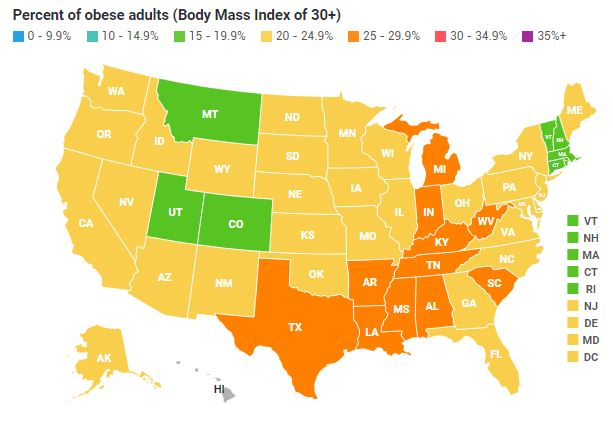 Us Obesity Levels By State Obesity Procon Org