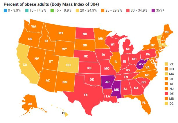 Us Obesity Map 2014 US Obesity Levels by State   Obesity   ProCon.org