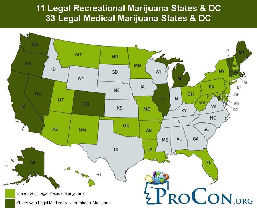 Legal Recreational Marijuana States and DC - Recreational