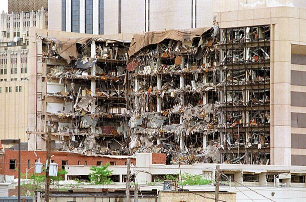 A truck bomb made with explosive-grade ammonium nitrate fertilizer blasted the Albert P. Murrah Federal Building in Oklahoma City on Apr. 19, 1995.