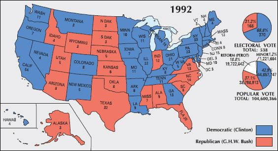 1992 and 1996 US Presidential Election Results Maps - Bill ...