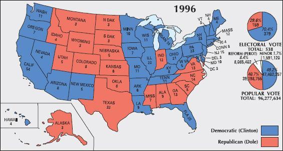 Electoral map 1996 Clinton vs. Dole