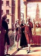 George Washington inauguration standing on the balcony of federal hall New York City April 30 1780