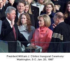President Willam J. Clinton inaugural ceremony Washington D.C. January 20 1997